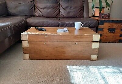 Vintage Oak Chest with Brass Corner Plates  -  Coffee Table - Storage Trunk