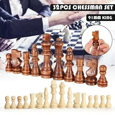 32 Piece Large Wooden Carved Chess Pieces Hand Crafted Set 9 cm King UK