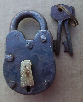 "Old West Jail Cast Iron Padlock 2 1/2"" Lock W/2 KEYS WORKS Pirate FREE SHIPPING"