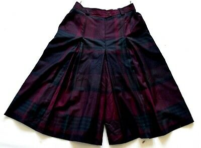 Women's Ladies Vintage 80's Burgundy Green Check Wool Culotte Shorts Retro 14