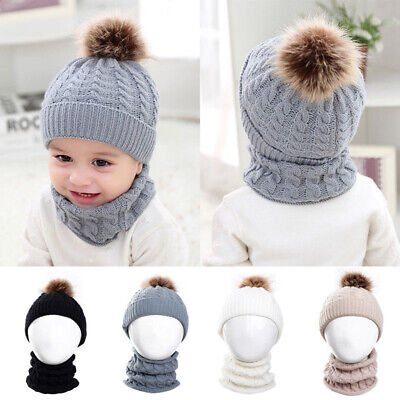 Newborn Toddler Kid Girl&Boy Baby Winter Warm Crochet Knit Hat Beanie Cap Set UK