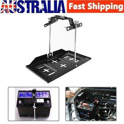 New Durable Universal Metal Car Battery Tray Adjustable Hold Down Clamp Kit