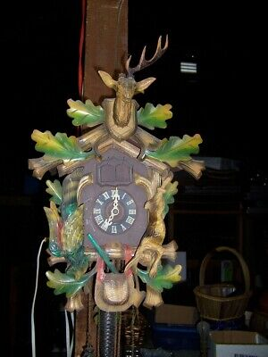 U S zone Germany Cuckoo Clock For repairs 50's 60's musical 3 weight time works