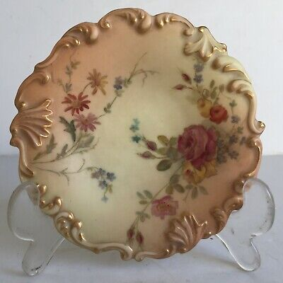 Adorable Antique Royal Worcester Painted Blush Relief Molded Butter Pat Plate