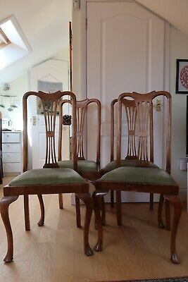 Set of 4x antique Edwardian upholstered dining chairs with green velvet inserts