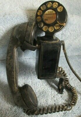 Vintage 1930S Black Bell System, Western Electric Wall Mount Rotary Dial Phone