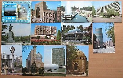 14 Postcard Russian Aeroflot Air Line Craft Plane Ways Central Asia Architecture