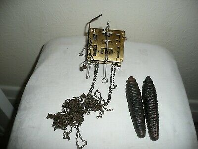 Hubert Herr Cuckoo Clock Movement With Chains & Weights, Good Used Condition.