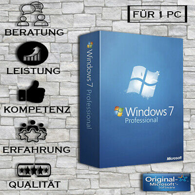 Windows 7 Professional - Vollversion - Win 7 Pro + Anleitung - Key per E-Mail