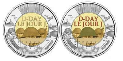 Canada 2019 Set Of Two $2 Coins 75th Anniversary Of D-Day Coloured And Plain.
