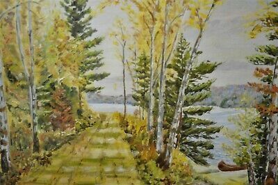 """C.H. Day Autumn Waterfront Landscape Framed 19""""x23"""" Oil Painting"""