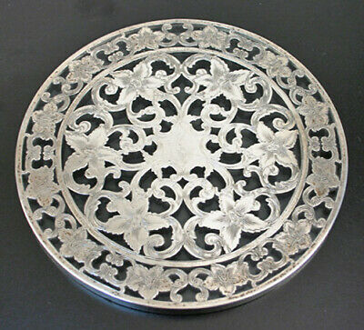 "Sterling on Glass Overlay 6"" Trivet by Webster"