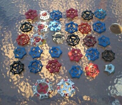 Lot of 32 steel Valve Handles Water Faucet Knobs Steampunk Industrial