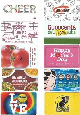 10 Different Food Gift Cards   T9-16