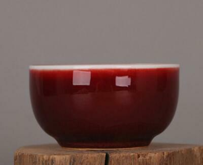 chinese old handmade Red glaze porcelain Kung fu cup 07510
