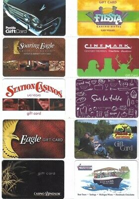 10 Different Gift Cards   T9-21  (5 Are Casino Gift Cards)