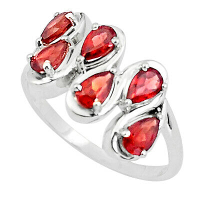 25 Sterling Silver 4.69cts Natural Red Garnet Pear Ring Jewelry Size 8 P37209