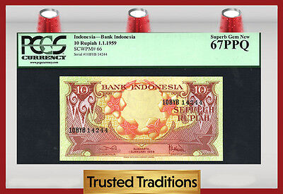 Tt Pk 66 1959 Indonesia 10 Rupiah Bank Indonesia Pcgs 67 Ppq Superb Gem New