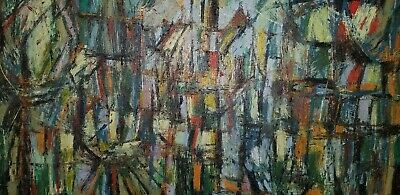 Mid Century Painting Signed Magnificent Abstract Midcentury Painting Large