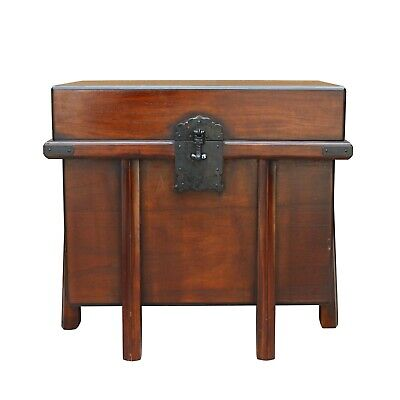 Asian Brown Stain Korean Japanese Style Trunk Storage Chest Table cs5313