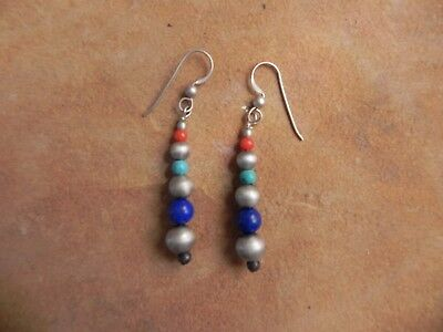 Turquoise, Lapis, Coral & Brushed Satin Sterling Silver dangle Earrings Navajo