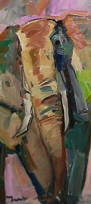 Jose Trujillo Oil Painting 12X24 Elephant Portrait Expressionism Abstract Art