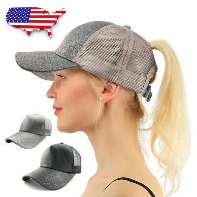 US Summer Ponytail Baseball Caps Adjustable Glitter Messy High Buns Trucker Hat