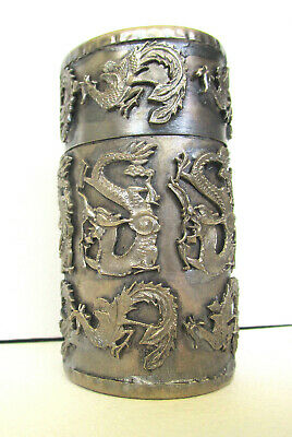 Chinese Tibet Silver Dragons Phoenix Round Treasure or Toothpick Box 3.5 in H
