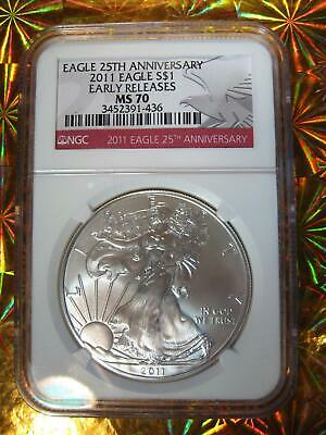 2011 Silver American Eagle NGC MS 70  25th Anniversary - High Grade Hard to Find