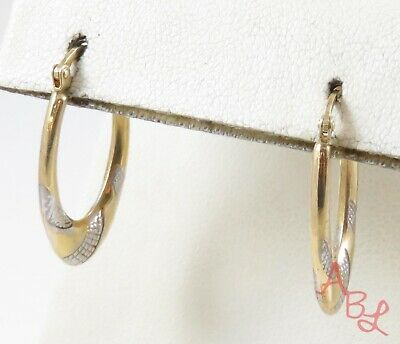 Sterling Silver Vintage Gold Over 925 Two Tone Hoop Earrings (1.2g) - 775207