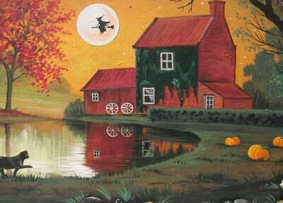 Aceo Print Of Painting Ryta Halloween Witch Black Cat Haunted Farm Mill Oak Tree