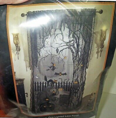 Discontinued HALLOWEEN - SPOOKY LIGHTED LACE PANEL Curtain Prop