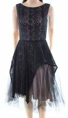 Nha Khanh Black Women's Size 4 A-Line Lace Tulle Overlay Dress $645- #134