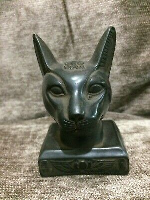 EGYPT EGYPTIAN ANTIQUES BASTET CAT Ubasti GODS Black Carved STONE BC