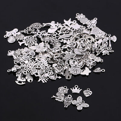 Wholesale 100Pcs Bulk Silver Mixed Charms Pendants for DIY Jewelry Making Craft
