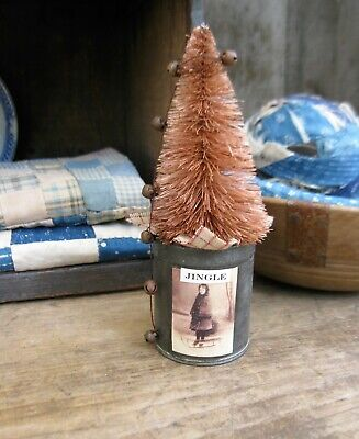 Christmas Bottle Brush Tree Early Antique Spice Tin Old Photo Print FreeShipping