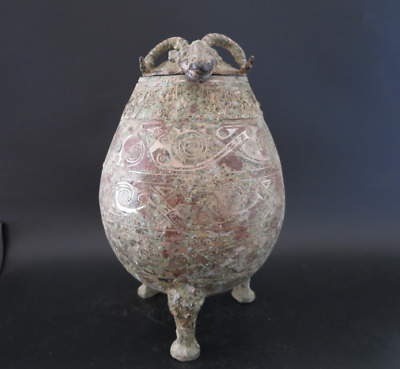 Collections chinese Warring States Bronze inlaid silver sheep head vessel 2145g