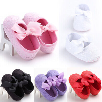 UK Infant Newborn Baby Girl Lace Crib Pram Shoes Bow Soft Sole Shoes Prewalker