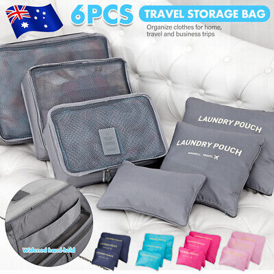 6x Travel Storage Bags Clothes Packing Socks Cube Luggage Organizer Pouch OZ