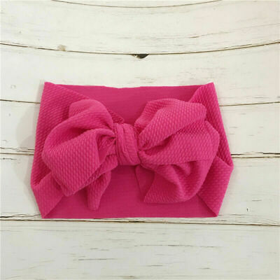 Baby Toddler Kids Girls Bow Hairband Turban Knot Cute Headband Headwear Rose Red