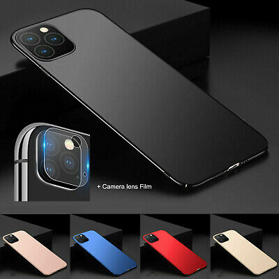 For iPhone 11 Pro Max Slim Hard PC Back +Camera Lens Protector Film Cover Case
