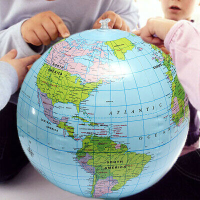 38cm Inflatable World Globe Earth Map Kids Teaching Geography Beach Map Bal P8D6