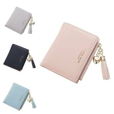 Womens Solid Cute Wallet Coin Bag Case Leather Simple Bifold Small Handbag Purse