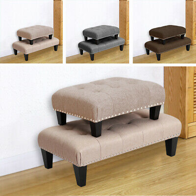 S/L Antique Tufted Footstool Linen Fabric Bench Chair Stools Lounge Rest Seating