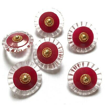 6 X Red gold clear plastic buttons round sewing DIY crafts vintage art 22mm