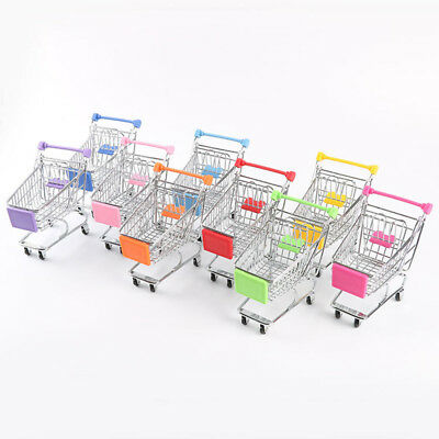 Supermarket Mini Metal Shopping Trolley Basket Kids Child Pretend Role Play Tool
