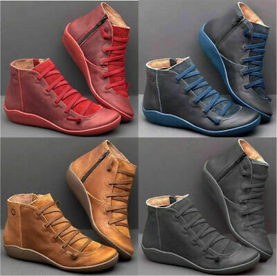 Women's Winter Autumn Arch Support  Ankle Boots Side Zip Wedge Heel Flat Shoes