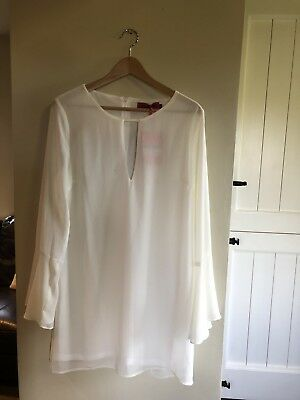 Ladies Boohoo Jolie 70's Bell Sleeve Cream shift Dress Size 16 New With Tags