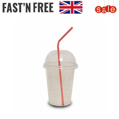 Smoothie Cups With Domed Lid -Disposable Milkshake Juice Slush Party Clear 10 oz