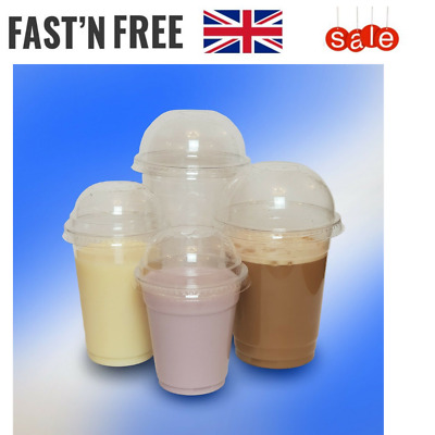 Smoothie-Milkshake-sweets-Juice slush party Cups & Lids  Clear Plastic Domed Lid